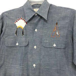 Vintage SELVEDGE Chambray Shirt CUSTOM Embroidery
